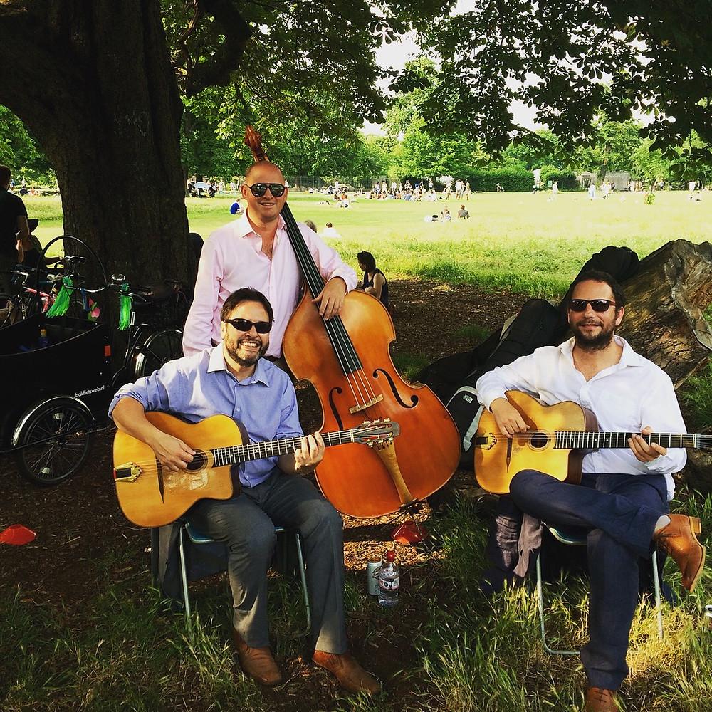 Jonny Hepbir Gypsy Jazz Trio At A Celebration Party In Clissold Park London