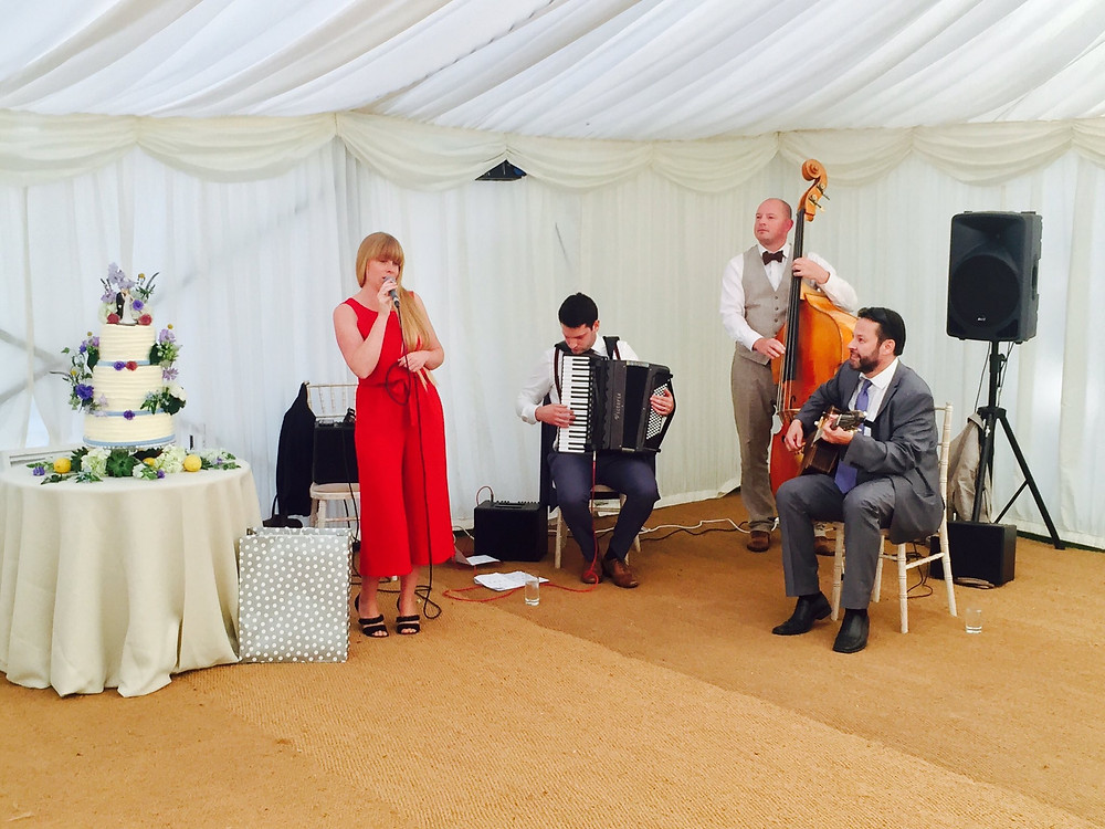 Jonny Hepbir Gypsy Jazz Quartet At Chelsea Physic Garden In London For A Wedding Celebration
