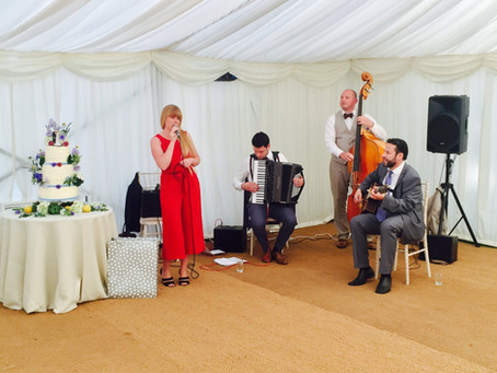 Jonny Hepbir Gypsy Jazz Quartet At Chelsea Physic Garden In London For A Wedding Celebration