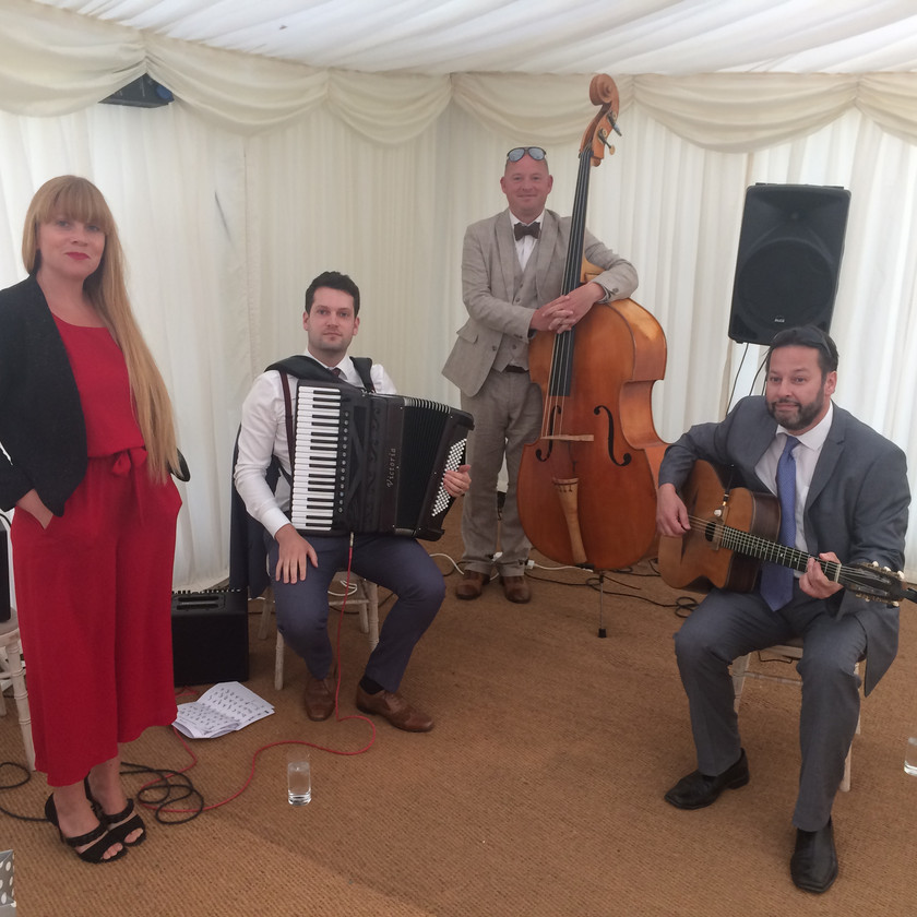 Jonny Hepbir Gypsy Swing Quartet At Chelsea Physic Garden In London For A Wedding Celebration
