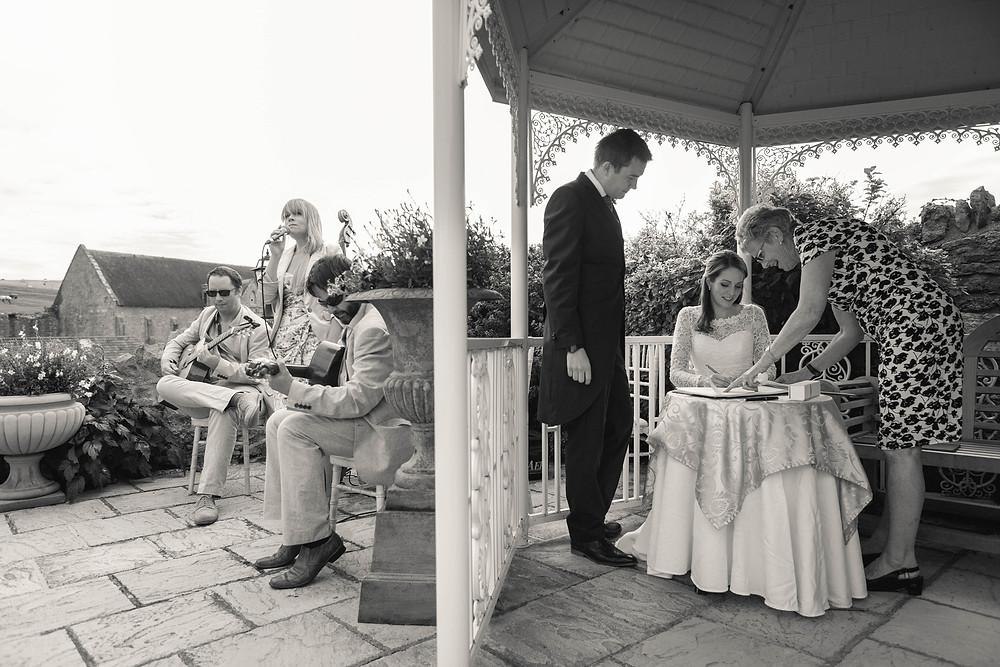 Jonny Hepbir Gypsy Jazz Quartet Playing At A Wedding Booking In Sussex