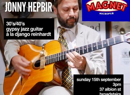 Gypsy Jazz Guitar In Kent | Jonny Hepbir In Ashford 7th September & Broadstairs 15th September