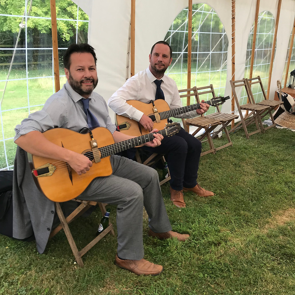 Jonny Hepbir Gypsy Jazz Duo Playing At Song Writer James Newman's Wedding In Canterbury Kent