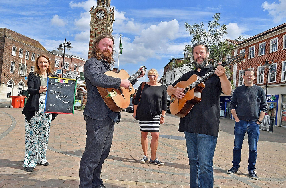 Jonny Hepbir Gypsy Jazz Guitar Duo At Epsom Marketplace In Surrey
