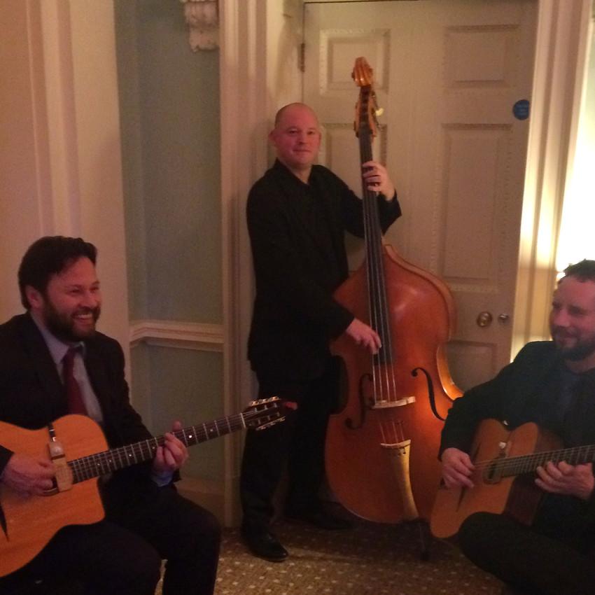 Jonny Hepbir Gypsy Jazz Trio play a wedding at Wotton House in Dorking Surrey