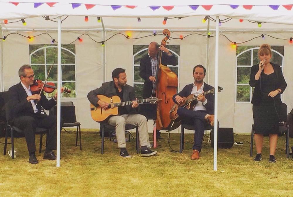 Jonny Hepbir Gypsy Jazz Quintet At Henfield Garden & Arts Festival In West Sussex