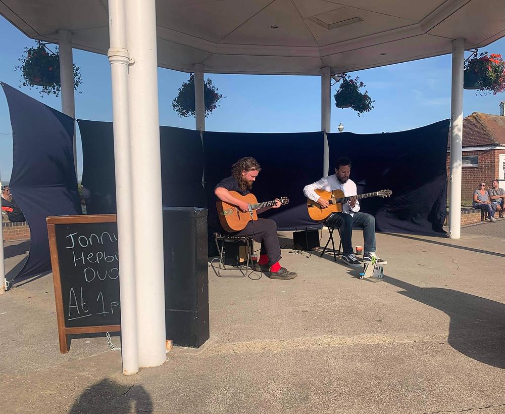 Jonny Hepbir Gypsy Jazz Duo at Broadstairs Bandstand Kent