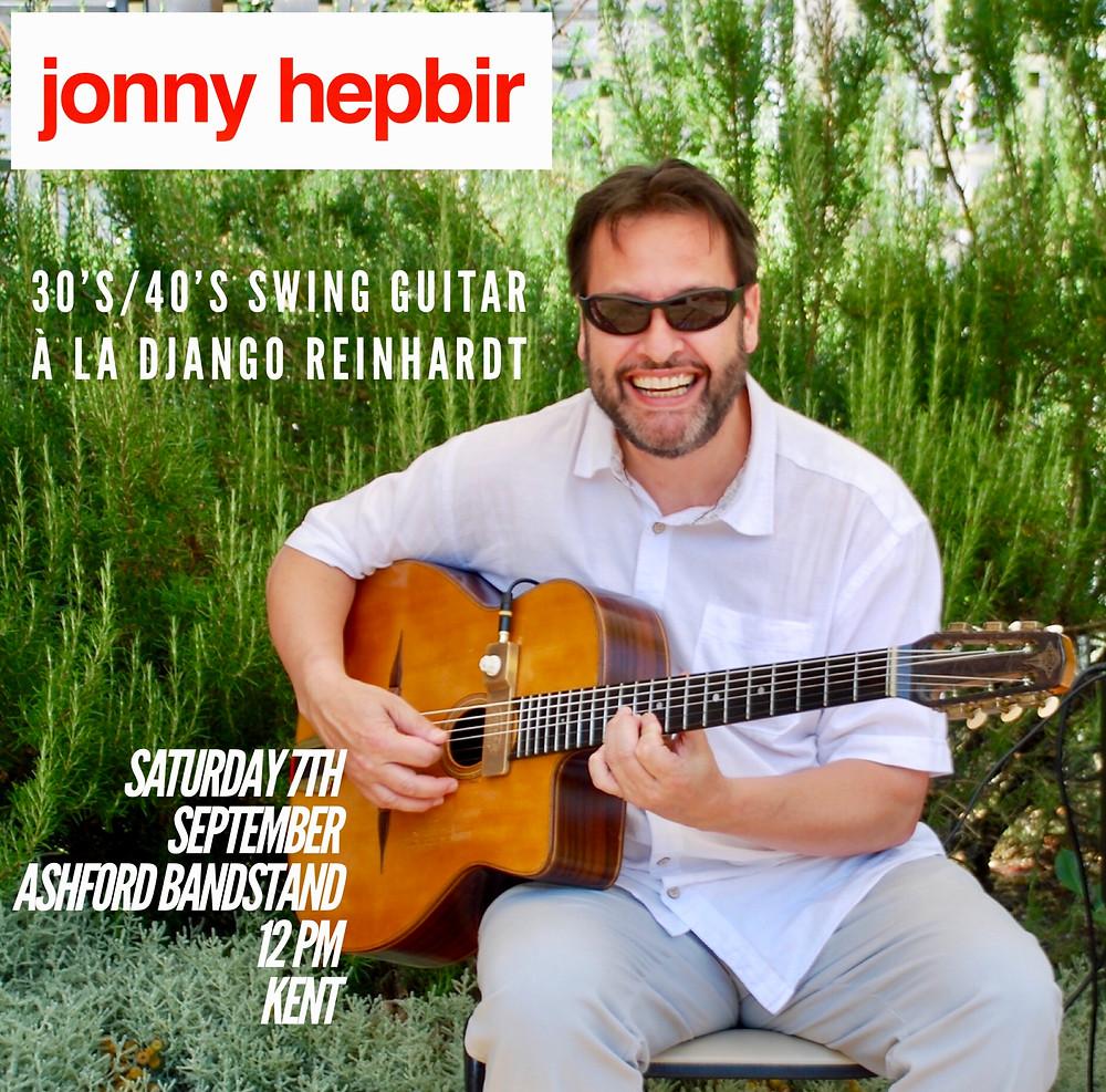 Jonny Hepbir Solo Gypsy Jazz Guitar At Ashford Bandstand In Ashford Kent Saturday 7th September