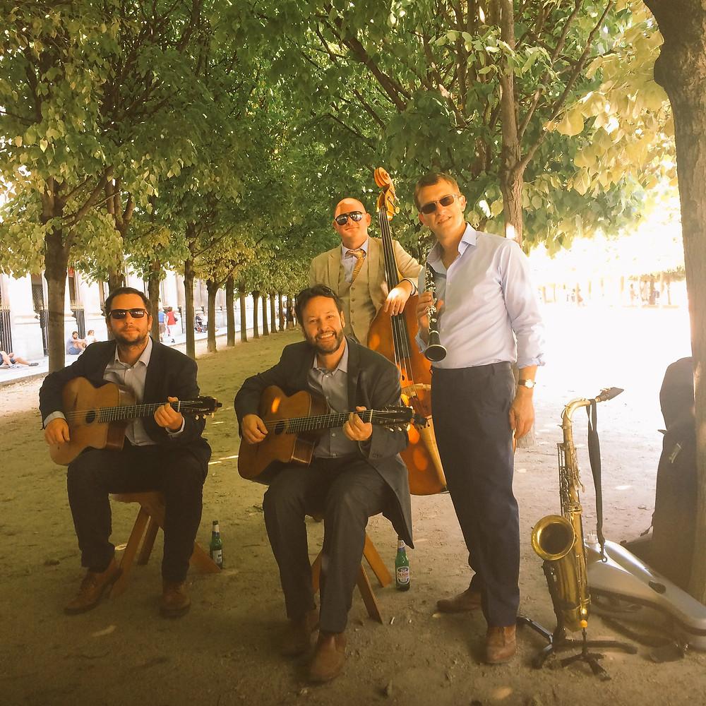 Jonny Hepbir Gypsy Jazz Quartet At The Jardin Du Palais-Royal In Paris France