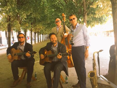Jonny Hepbir Gypsy Jazz Quartet Play A Corporate Party In The Jardin du Palais-Royal in Paris France