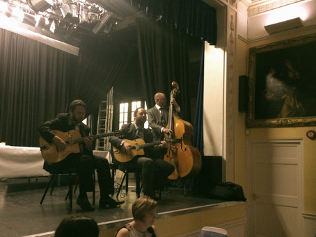 Gypsy Jazz Band Hire In Kent | Jonny Hepbir Trio Play A 50th Birthday Party At Tenterden Town Hall