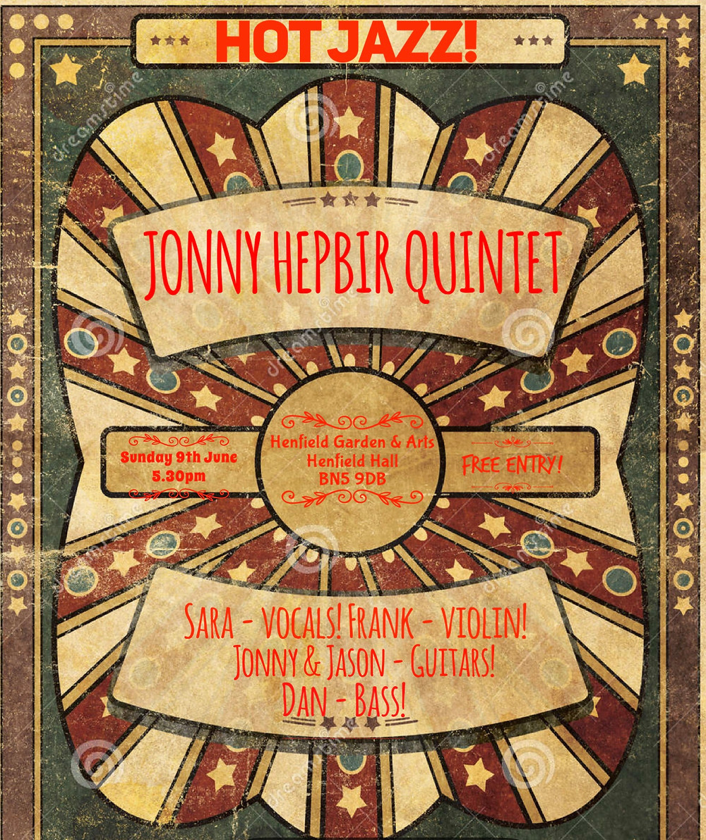Jonny Hepbir Gypsy Jazz Quintet At Henfield Hall West Sussex Sunday 9th June 5.30pm