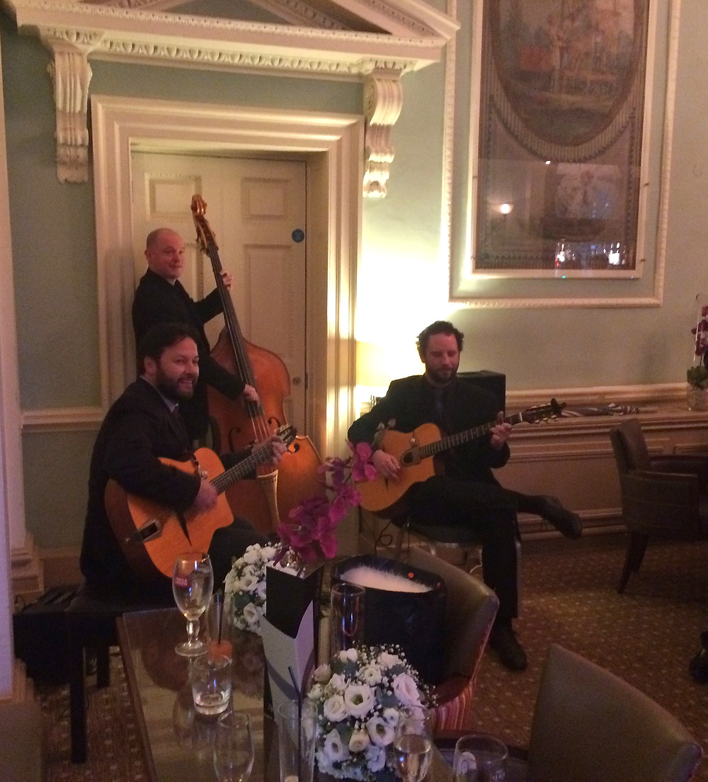 Jonny Hepbir Gypsy Jazz Trio play a wedding at Wotton House in Dorking Surrey