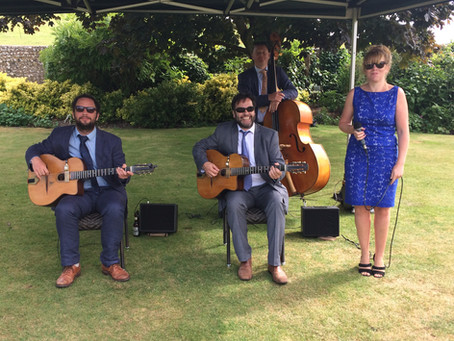 Jonny Hepbir Gypsy Swing Quartet Wedding At Pangdean Barn Near Brighton East Sussex