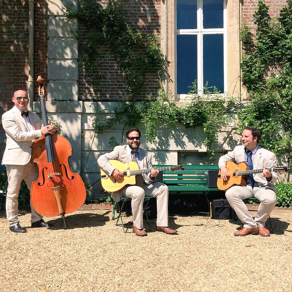 Jonny Hepbir Gypsy Jazz Trio Play A Wedding Reception At Deans Court In Wimborne Minster Dorset