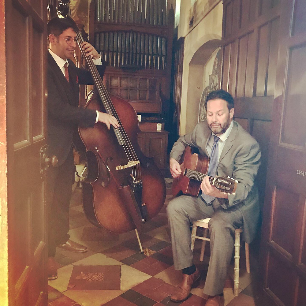 Jonny Hepbir Gypsy Jazz Duo With Double Bass Playing For A Wedding At Fulham Palace London