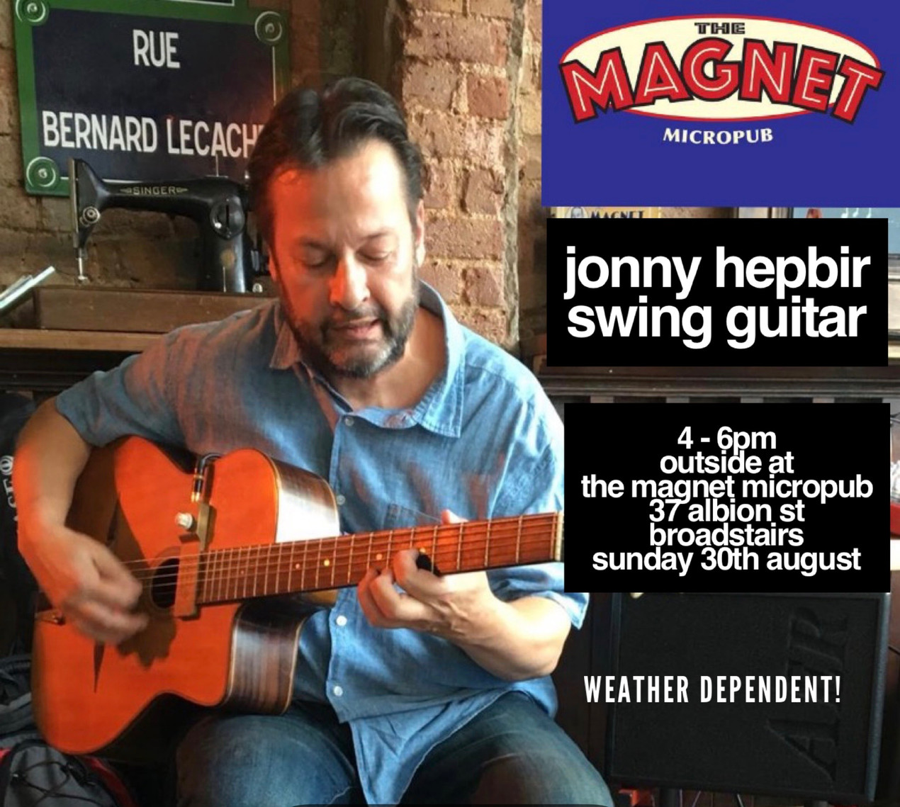 Jonny Hepbir Solo Gypsy Jazz Guitarist Live Sunday 30th August At The Magnet Micropub Broadstairs, Kent