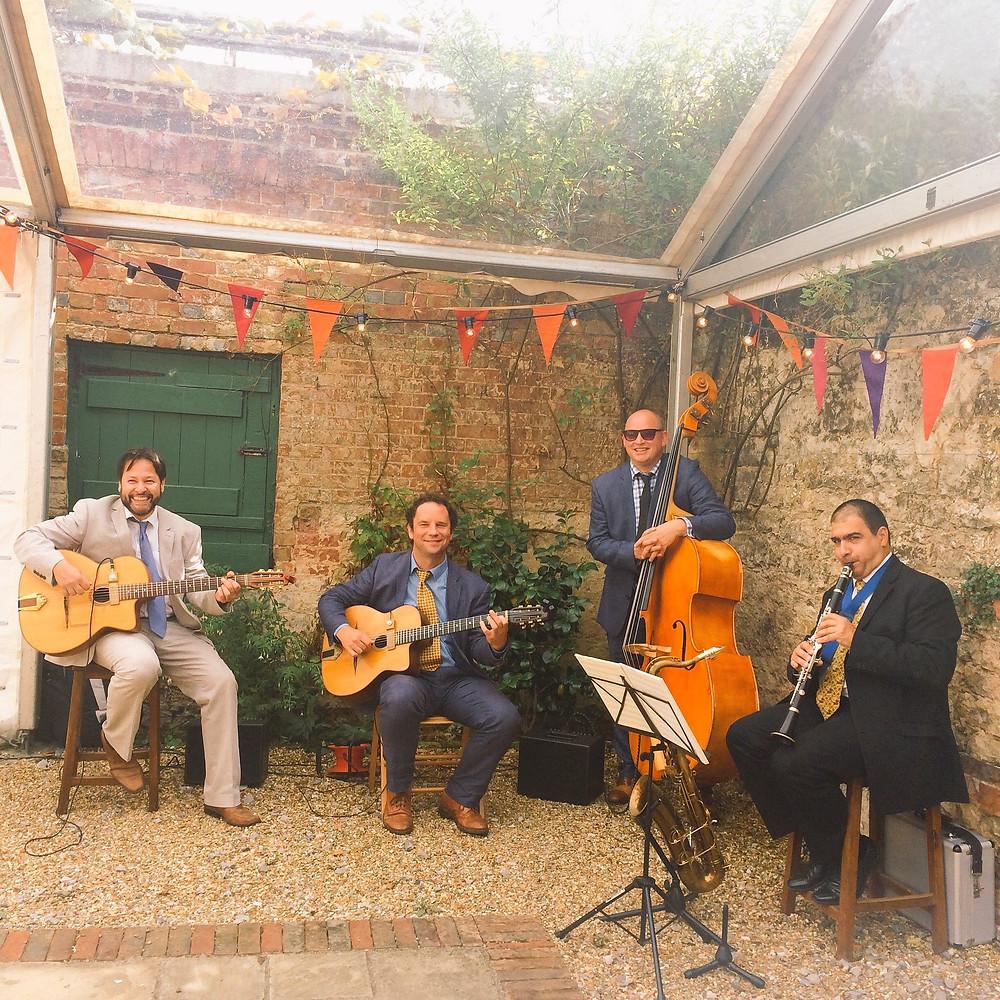 Jonny Hepbir Jazz Quartet Playing At A Wedding In Bignor Park Near Pulborough, West Sussex