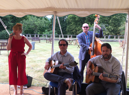 Jonny Hepbir GYPSY swing Quartet At The University Of Law In Guildford For Their 50th Anniversary