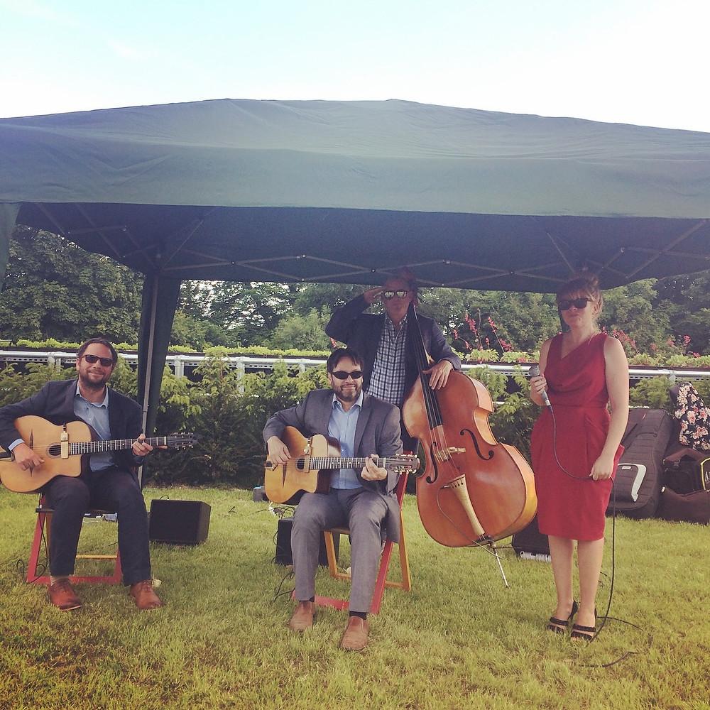 Jonny Hepbir Gypsy Jazz Quartet At Greyfriars Vineyard Near Guildford For Wine Cave Celebration