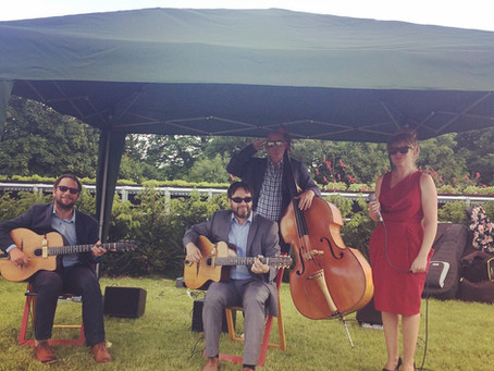 Jonny Hepbir Gypsy Jazz Quartet At GreyFriars Vineyard Near Guildford To Celebrate Wine Cave Opening