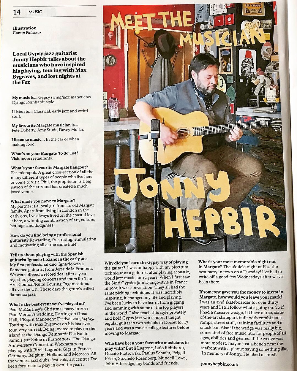 Jonny Hepbir Gypsy Jazz Guitarist Interview In Margate Mercury Kent