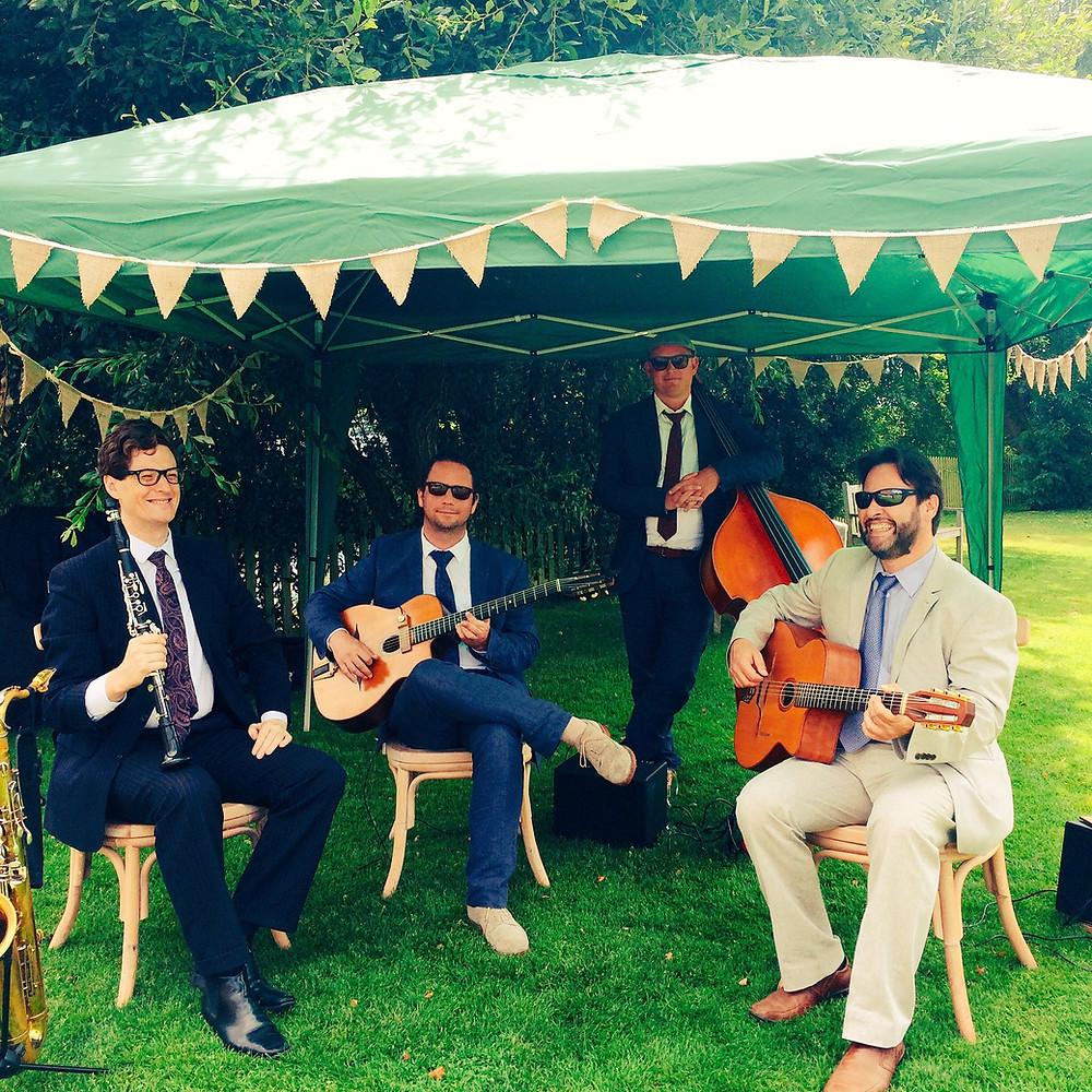 Jonny Hepbir Gypsy Jazz Quartet With Clarinet At Sopley Mill In Christchurch