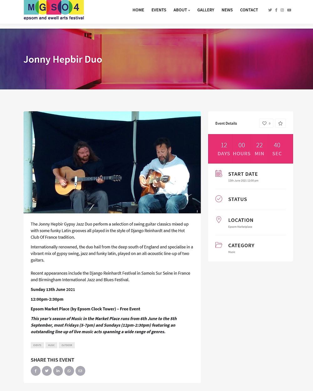 Jonny Hepbir Gypsy Jazz Duo – Live at Epsom Market Place - Sunday 13th June 2021 midday