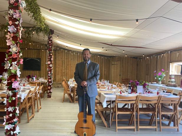 Solo Gypsy Jazz Guitar For A Wedding At Hawthbush Farm East Sussex   Hire Jonny Hepbir For A Wedding