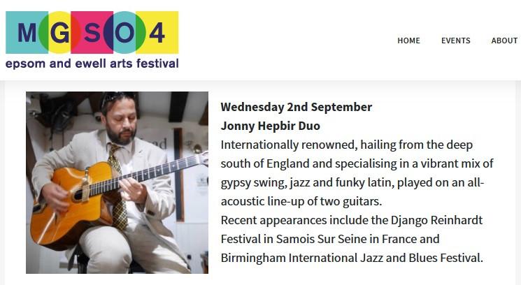 Jonny Hepbir Gypsy Jazz Duo Live At Epsom Marketplace, Surrey 12pm-2.30pm Wednesday 2nd September