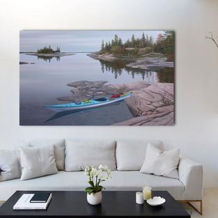 Blue Kayak in a sample room setting