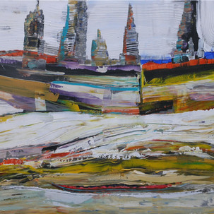 Living on the Edge ~ Acrylic on canvas 60 X 36 X 1.5 inches