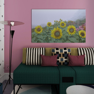 Sunflowers in a sample room setting