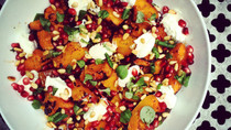 Autumn Salads: Roasted butternut squash, ricotta, pomegranate & toasted pine nuts on a bed of baby w