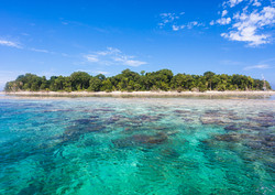 Blue ocean water and Idyllic tropical is