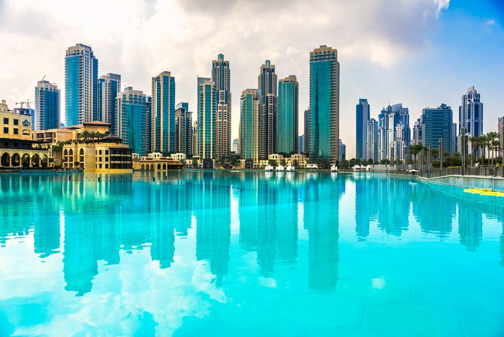 Dubai skyline at dusk, UAE_
