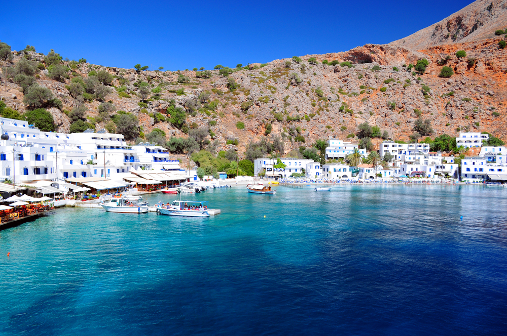 Greek village of Loutro Crete, Greece.