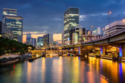 Osaka, Japan skyline over the Dojima riv