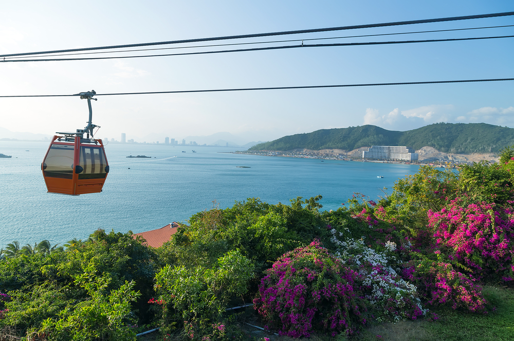 Cable car over sea leading to Vinpearl P