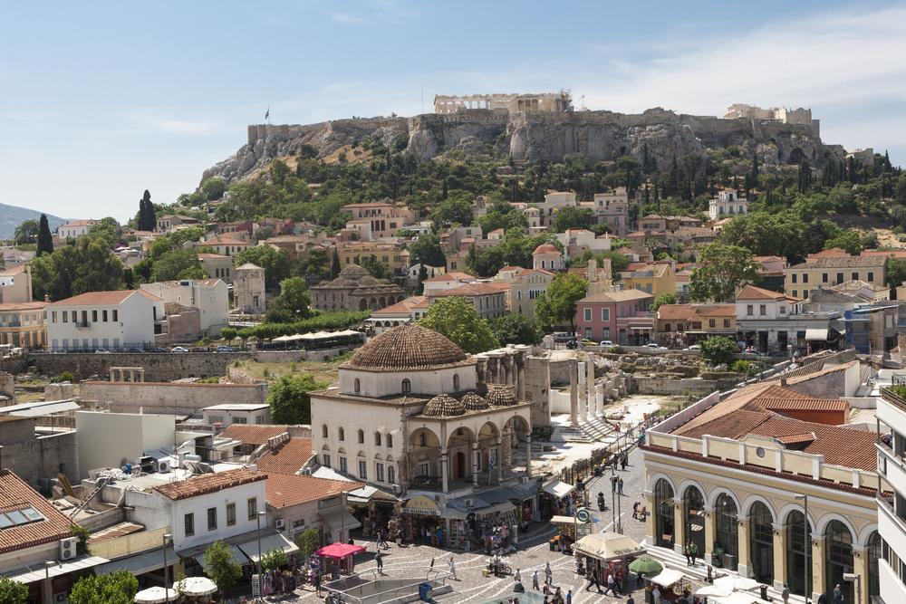 Monastiraki square and the Acropolis in