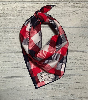 Red White and Blue Plaid Flannel Bandana