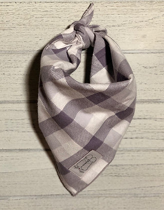 Grey Plaid Flannel Bandana