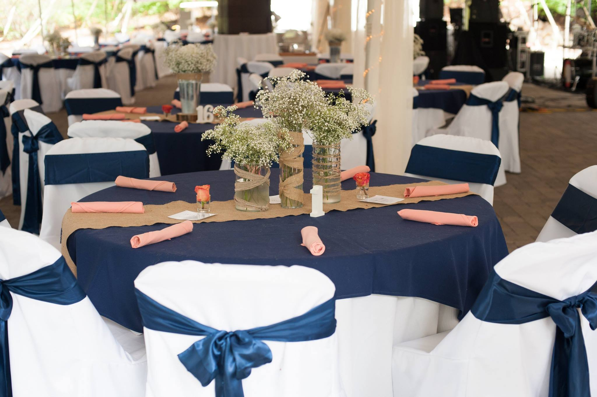 Blue and burlap rustic theme