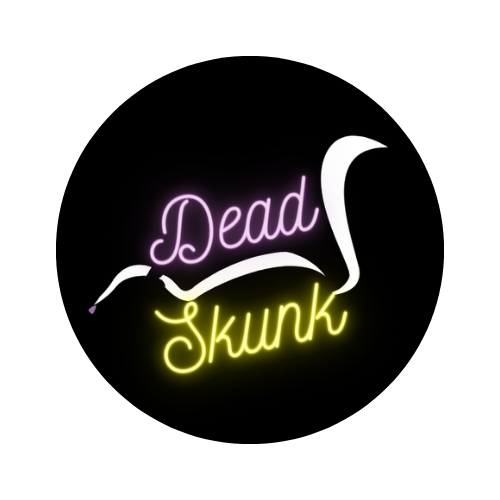 """Dead Skunk Logo: round logo of a white skunk silhouette on a black background with the words """"Dead Skunk"""" in cursive. """"Dead"""" is neon purple and """"Skunk"""" is neon yellow."""