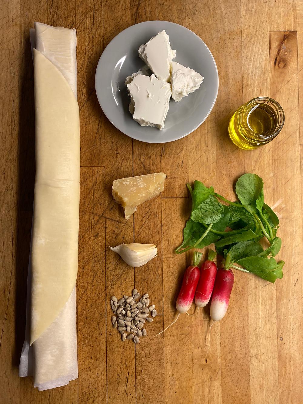Liste des ingrédients de la tarte aux radis