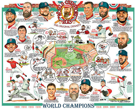 Red Sox World Series Tribune Lithograph