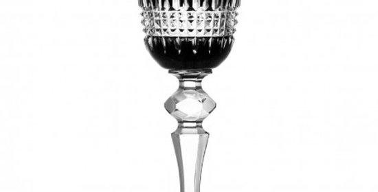 Set of two black crystal wine glasses