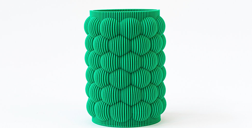 Green 3 D printed vase S