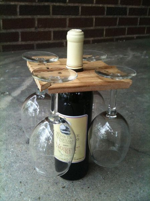 Handcrafted Wine Carry Tray - 1 Bottle 4 Glasses
