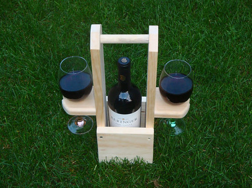 Handcrafted Wine Carry Case 1 Bottle - 2 Glasses